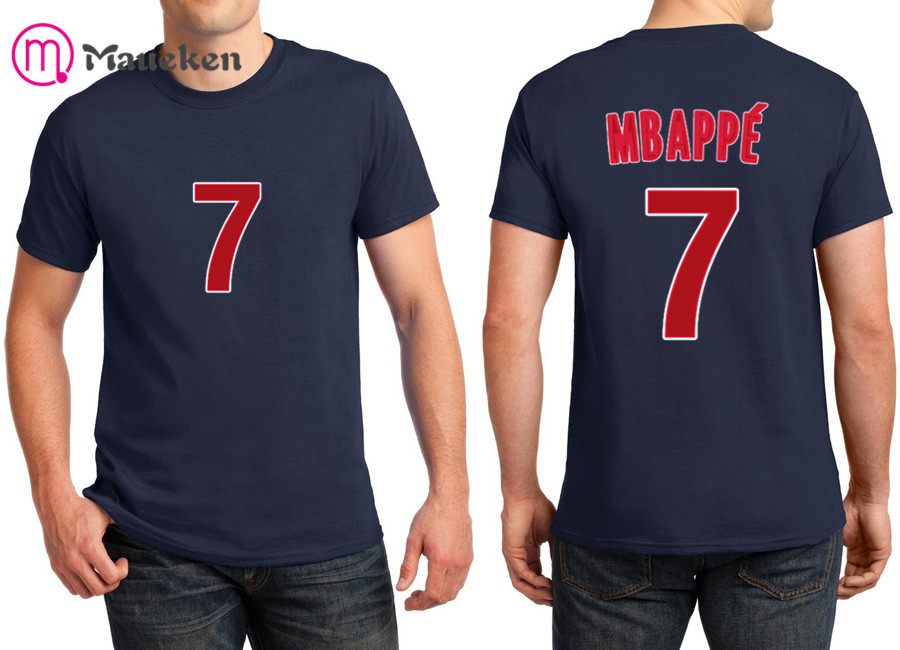 big sale 35898 214b9 US $9.99 |2018 Printed name Kylian Mbappe New 7 T Shirt Men Short Sleeve  100% cotton O Neck T shirts for france fans gift-in T-Shirts from Men's ...