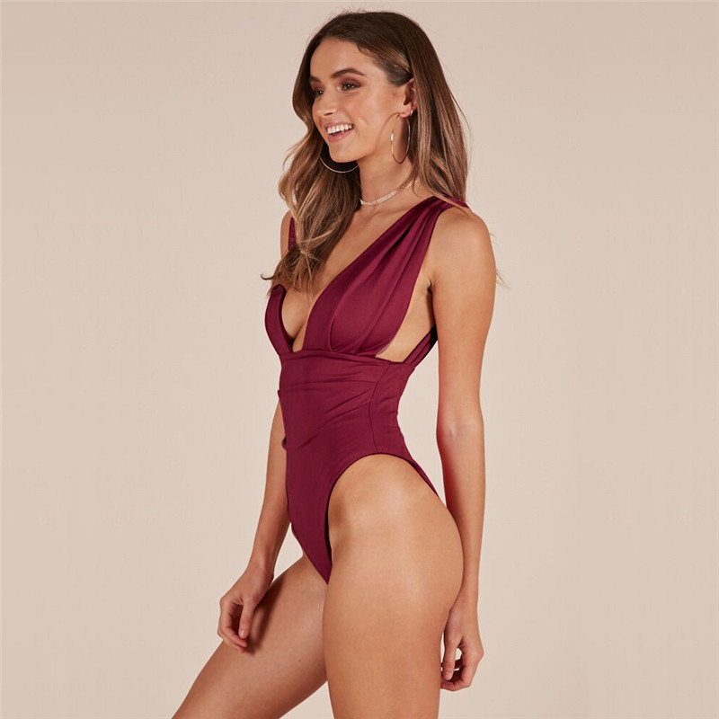 Adogirl Sexy Bodysuit Women Deep V Neck Backless Summer woman Bodysuits 2019 Fashion Slim Sleeveless Back Strap body top chothes in Bodysuits from Women 39 s Clothing