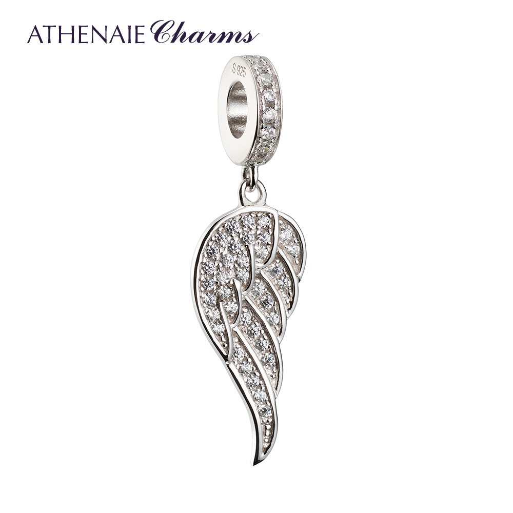ATHENAIE 925 Silver with Pave Clear CZ Angle Wing Love&Guidance Pendant Drops Charms Fit All European Bracelets DIY JewelryATHENAIE 925 Silver with Pave Clear CZ Angle Wing Love&Guidance Pendant Drops Charms Fit All European Bracelets DIY Jewelry