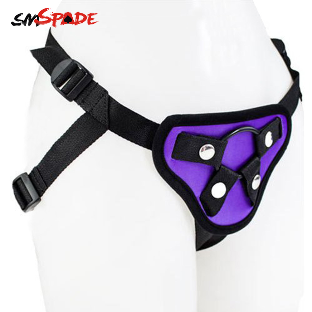 цены SMSPADE Purple Satin Strapon Dildo Penis For Lesbian Toy Sex Products Harness Penis Bondage Harness Strap-on