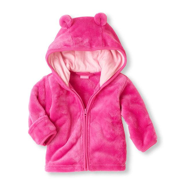 Menino e menina do bebê super de Lactentes e crianças jovens de coral fleece jaqueta com capuz hoodies três cores opcionais