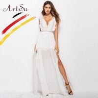 ArtSu Sexy Hollow Out White Lace Dress Women High Split Crochet Chiffon Maxi Party Dress Ruffle V Neck Elegant Robe Longue Femme