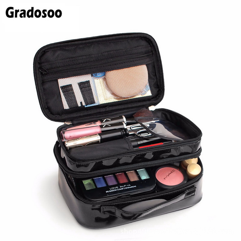 Gradosoo Patent Leather Makeup Bag Women Cosmetic Bag Waterproof Double Layer Travel Organizer Pouch Female Toiletry Bag LBF586