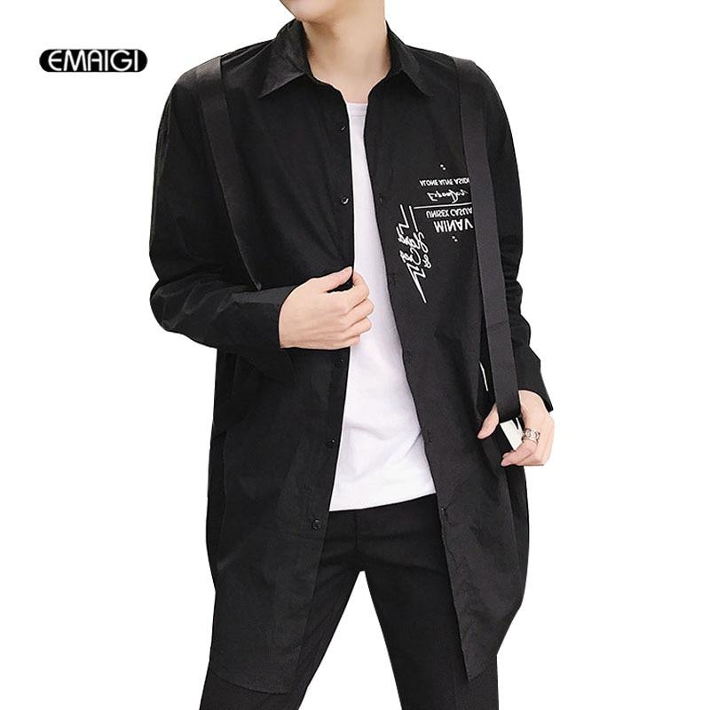 2018 New Men Ribbon Letter Printing Long Sleeve Casual Shirt Cardigan Coat Male High Street Fashion Hip Hop Long Style Shirt