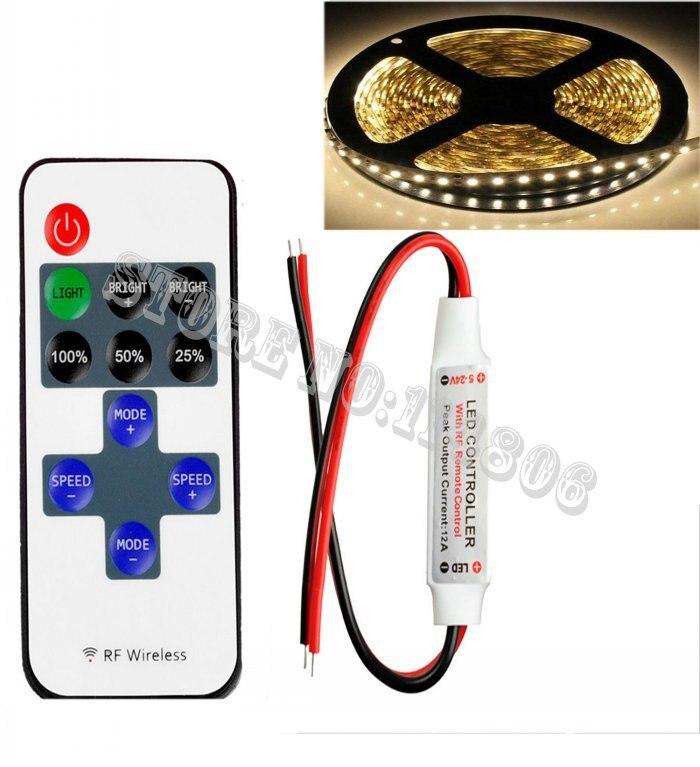 Мини Беспроводной РФ светодиодный контроллер удаленного РФ Диммер 12 В 6a + 5 м-Водонепроницаемый 2835 600 светодиодов чистый белый Гибкие Светод…