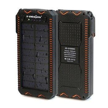 15000 mAh Solare Accumulatori e caricabatterie di riserva Portatile Batteria Esterna Powerbank Solare del Caricatore con Sigaretta Elettrica Accendisigari per il Telefono Astuto