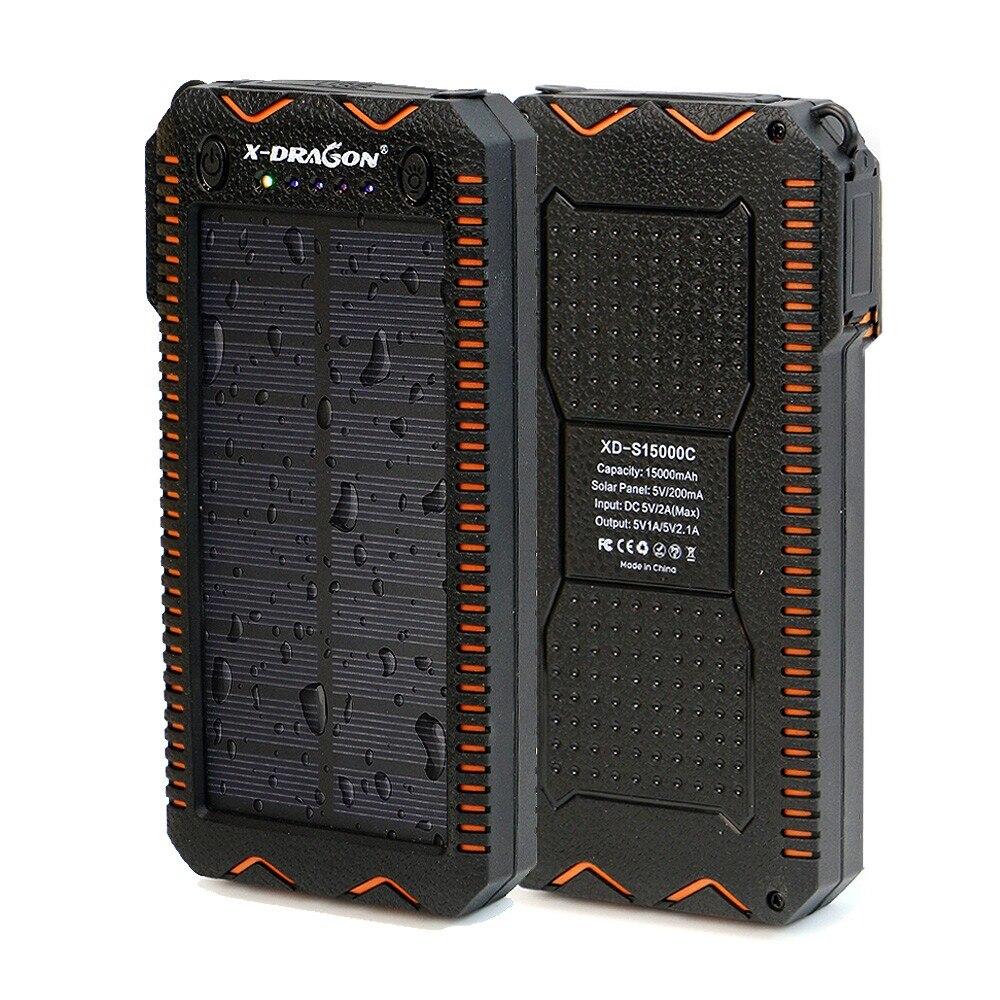 15000 mAh Solar Power Bank batería externa portátil Powerbank Solar cargador con cigarrillo eléctrico más ligero para el teléfono inteligente
