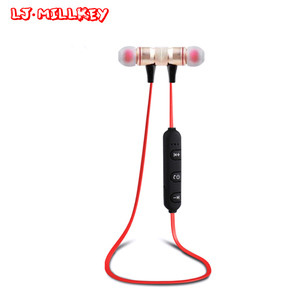 Bluetooth Earphone With Mic Wireless Anti-sweat Magnetic Earphones Sport Bluetooth Headsets For Running Gym LJ-MILLKEY LZ024 mb barbell mb pltb31