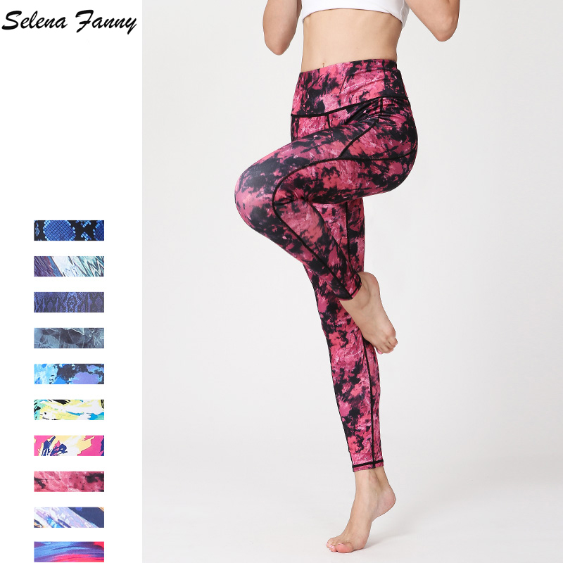Slim Women Yoga Pants Print Sports Fitness Jogging Running Leggings Breathable High Elastic Tights Pilates Pants Gym Trousers XL цена