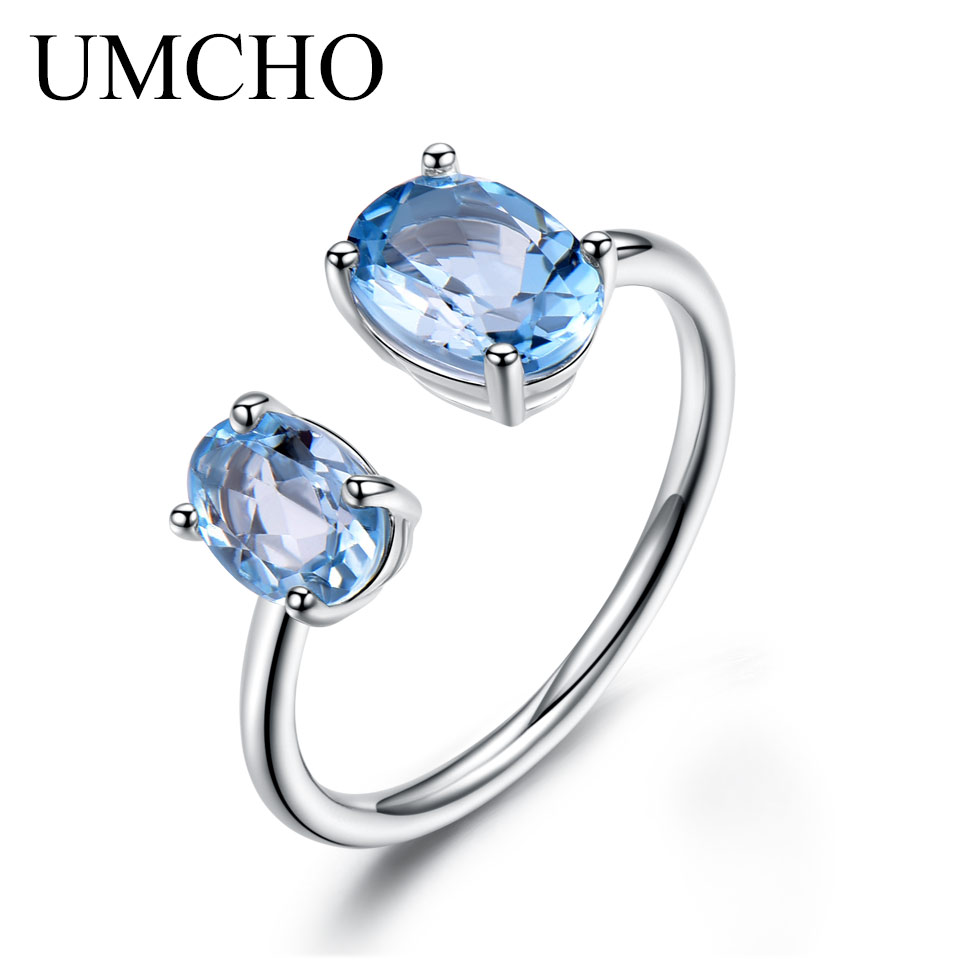 UMCHO 10.7ct Natural Sky Blue Topaz Gemstone Solid 925 Sterling Silver Engagement Adjustable Rings For Women Fine Jewelry umcho solid 925 sterling silver necklaces pendants sky blue topaz necklace for women gemstone fashion christmas jewelry new 2019