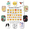 NICOLE DIARY Nail Art Water Decals Sheet on Fingers Lovely Patterns Stickers Water Transfer Nail Art Tattoo A4