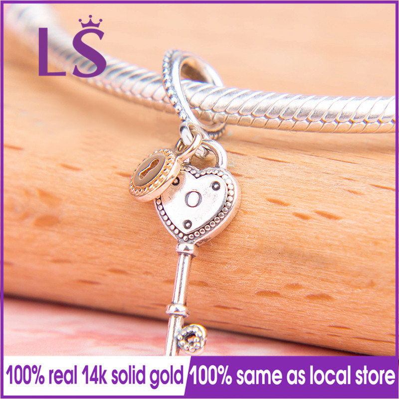 LS 2018 VALENTINES New KEY TO MY HEART DANGLE Charm Fit Original Bracelets Pulseira Beads Berloque 925 100% Original Jewelry NLS 2018 VALENTINES New KEY TO MY HEART DANGLE Charm Fit Original Bracelets Pulseira Beads Berloque 925 100% Original Jewelry N
