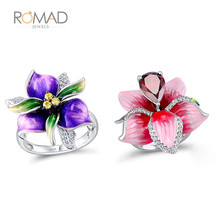 Romad AAA Cubic Zircon Crystal Wedding Ring Big Flower Leaf For Women Girl Mothers Day Gift