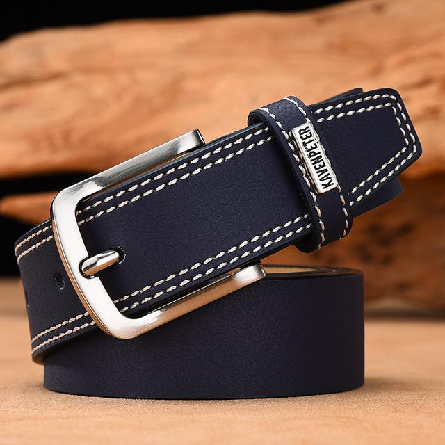 Cinturón Casual de Cuero con Costuras