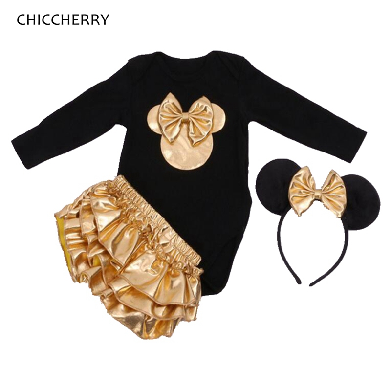 Minnie Newborn Baby Girl Clothes Gold Ruffle Infant Bodysuit + Bloomer Headband Set Winter Jumpsuit Toddler Birthday Outfits