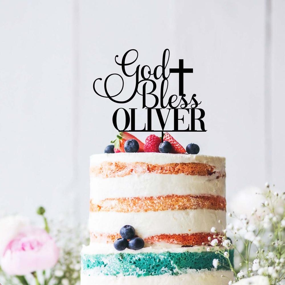 Персонализированные Бог Bless торт Топпер, детское украшение душевой кабины, персонализированные крещение торт Топпер, акрил золото серебро