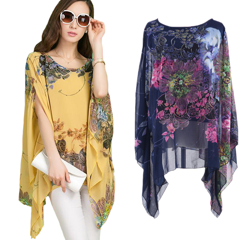 Irregular Batwing Sleeve Chiffon Shirts Pullover Blouse Women Cloak Tops Plus Size Vetement Femme Chemise Blusas Y Camisas Mujer