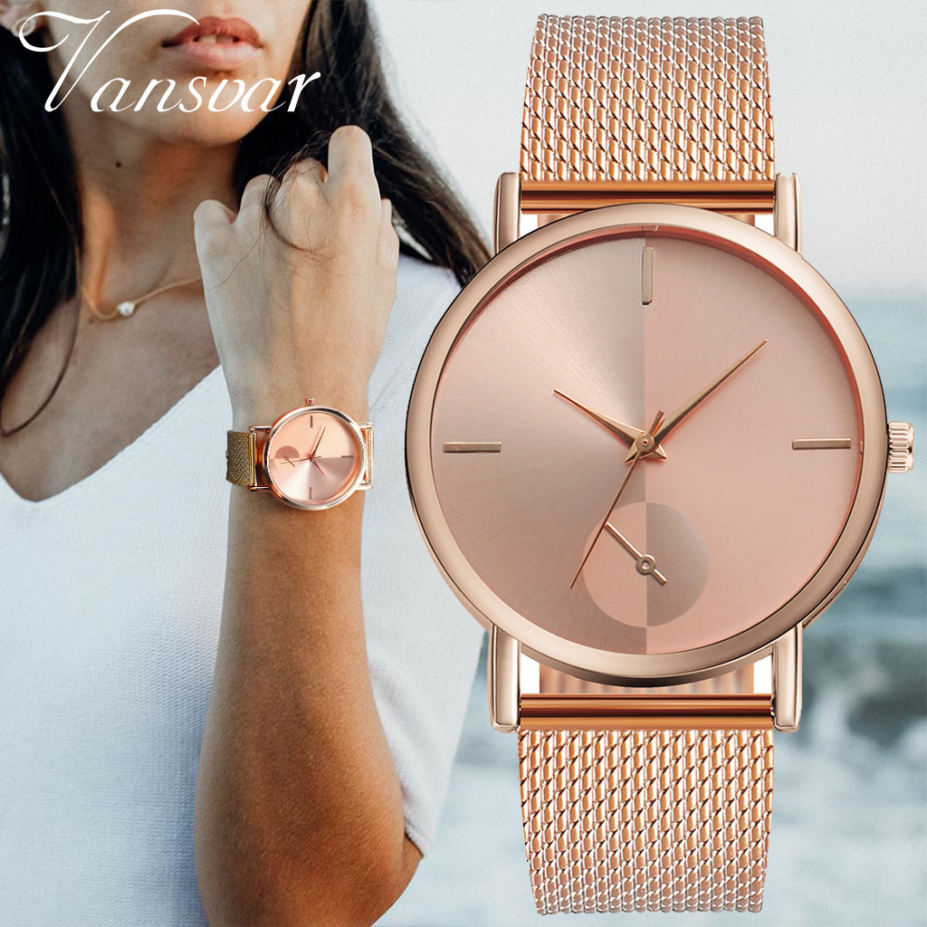 Vansvar Hot Sale Fashion Simple Minimalist Solid Color Rose Gold Women Ladies Wrist Watch Stainless Steel Strap Wateches Zegarek