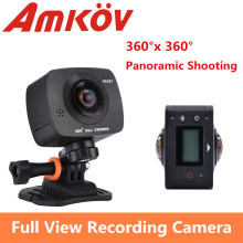 Original AMKOV AMK200S dual lens 360*360 Degree  Panorama Camera HD WiFi Sport Camera  Action Camera Support VR Youtube
