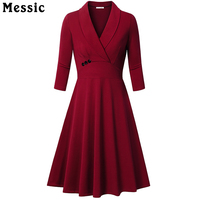 Messic Autumn Winter Dress Turn Down Collar Women Elegant Evening Party Mid Dresses Pleated Vintage Dresses
