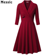 Messic Autumn A Line Knitted Dress Women 2018 Vintage Elegant 3 4 Sleeve Robe Femme Pleated
