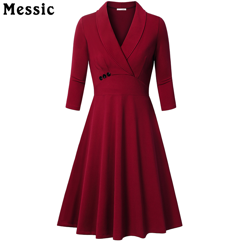 Messic Autumn A line Dress Turn Down Collar Women Elegant 3 4 sleeves Party Dresses Pleated