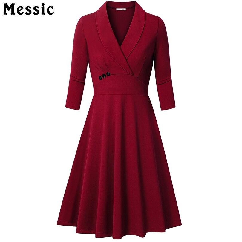 Messic Otoño A-line Vestido Turn-Down Collar Mujer Elegante 3/4 mangas Vestidos