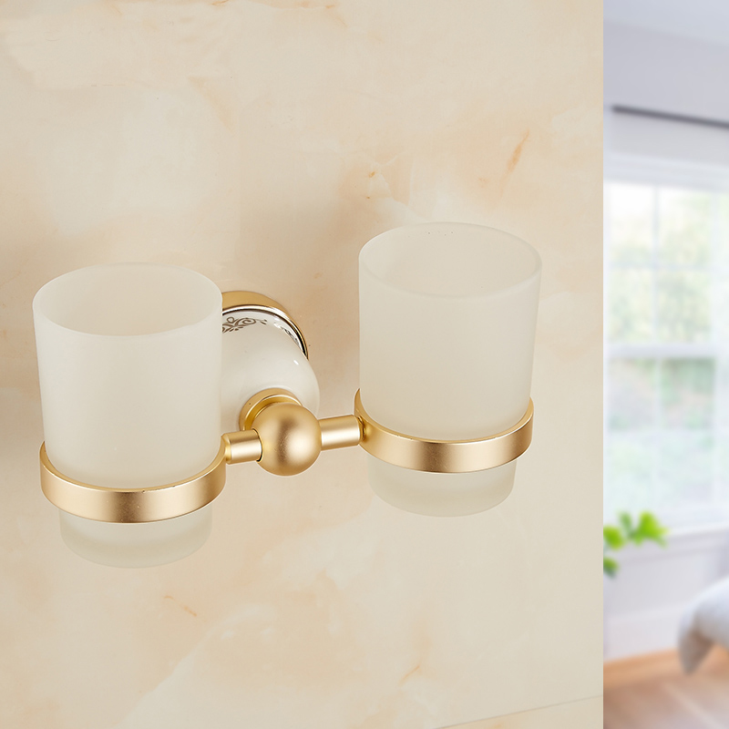 Bathroom wall mounted double rinse cup holder shelf, Antique aluminum double cup tumbler holder, Retro gold cup holders rack