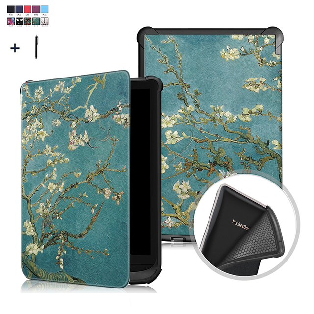 Funda Universal para Amazon PocketBook, Touch Lux, 4/627, 616, 632, Wake Sleep Print, Fundas de cuero con tapa
