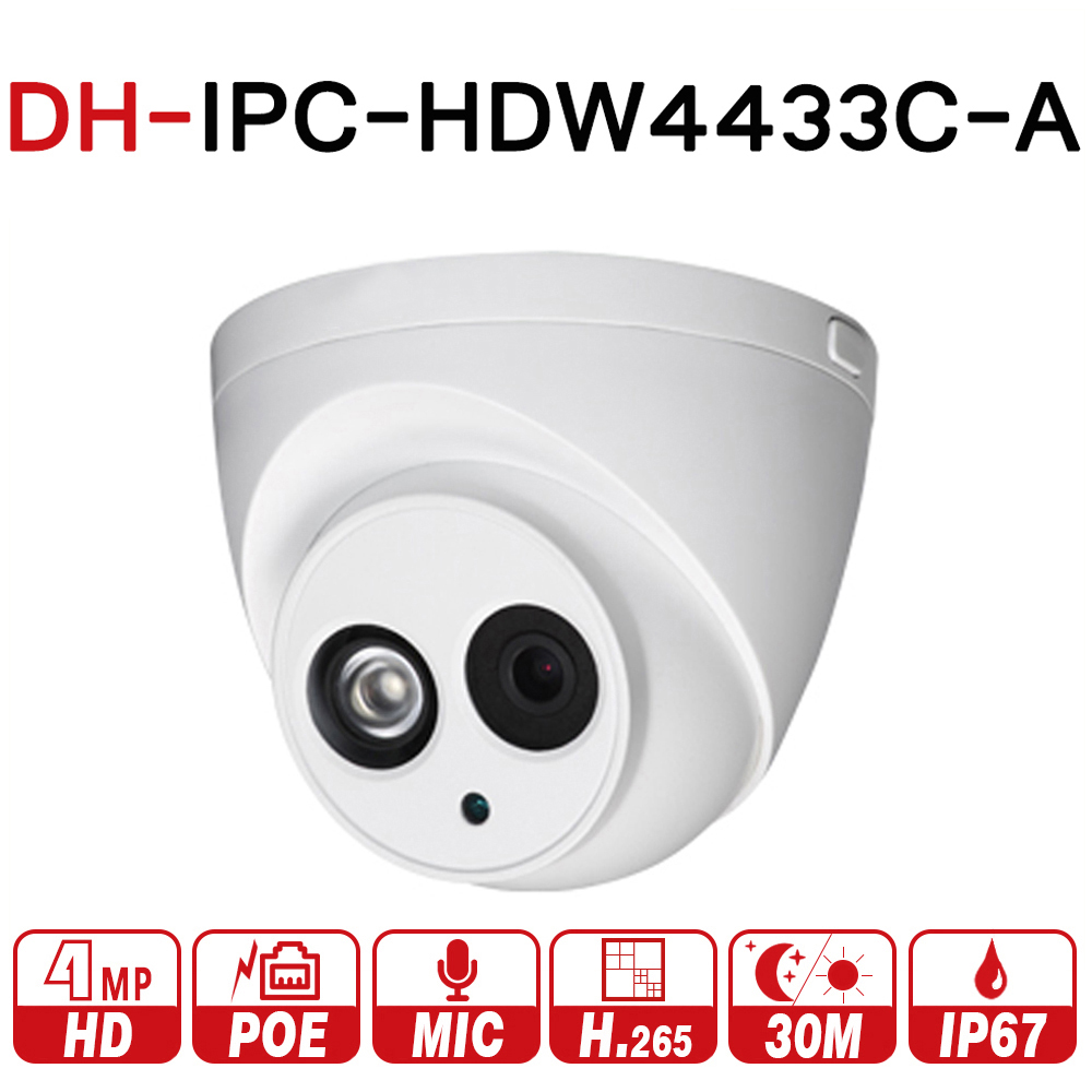 DH IPC-HDW4433C-A 4MP HD POE Network IR Mini Dome IP Camera Built-in MiC CCTV Camera with DH logo Upgrade From IPC-HDW4431C-A dahua 4mp ip camera ipc hdw4433c a replace ipc hdw4431c a poe ir30m h 265 built in mic cctv dome camera multiple language