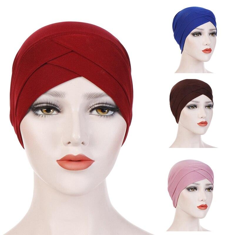 Muslim Women Scarf Turban Hijab Caps Ladies Turban Head Cap Hat Islamic Muslim Bohemian Beanie Wrap Hair Accessories