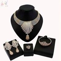 YULAILI New Luxury Women Wedding Jewelry Sets Setting Cubic Zircon 4pcs Sets Necklace Bangle Earrings Ring Accessories
