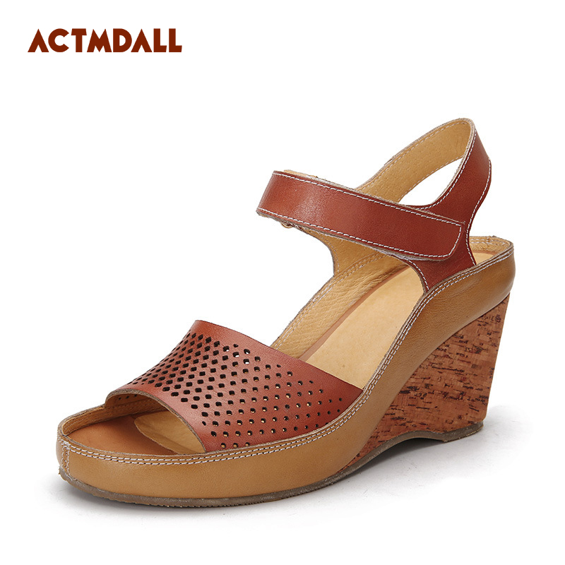 2018 Fashion Mother Sandals Wedges Women High Heel Sandals Platform Cow Leather Summer Office Ladies Hollow Shoes Actmdall facndinll new women summer sandals 2018 ladies summer wedges high heel fashion casual leather sandals platform date party shoes