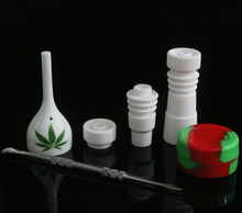 Bongs Tool Set with Ceramic Carb Cap 14mm & 19mm female joint Nail Dabber Slicone Jar Dab Container 4 Pcs A Whole