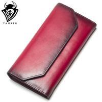 2018 New Fashion Wallet Women Genuine Leather Wallet Vintage Brand Women Purse Long Purse Coin Purse