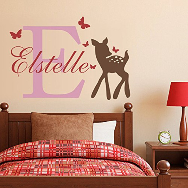 ART Wall Sticker For Kids Custom Name Deer Butterflies Vinyl Wall - Custom vinyl wall decals deer