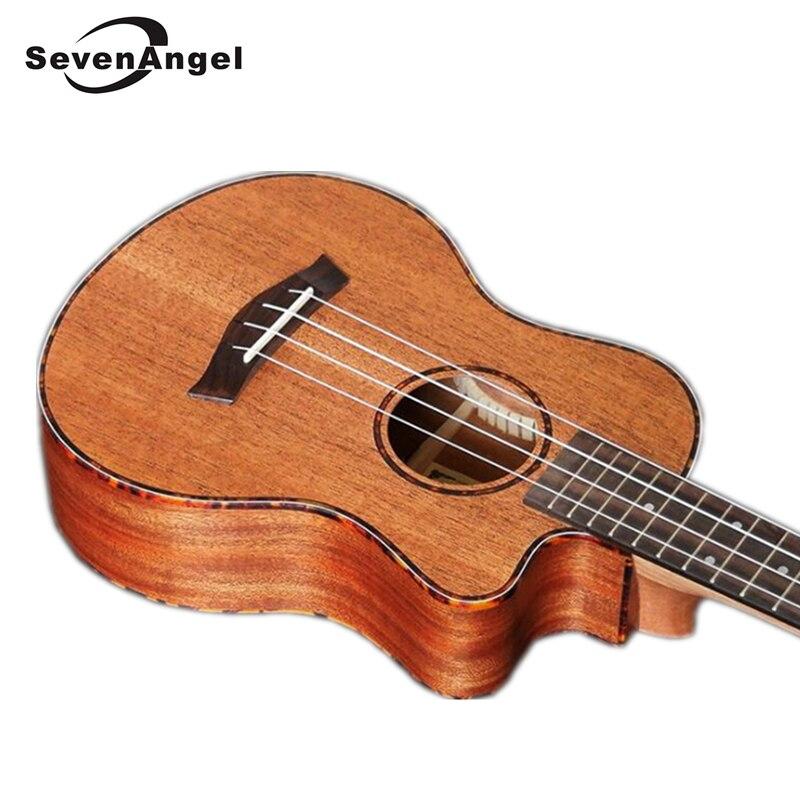 SevenAngel 23 pouces Concert acajou Ukelele manquant Angle ukulélé hawaïen 4 cordes guitare électrique Uku avec ramassage EQ