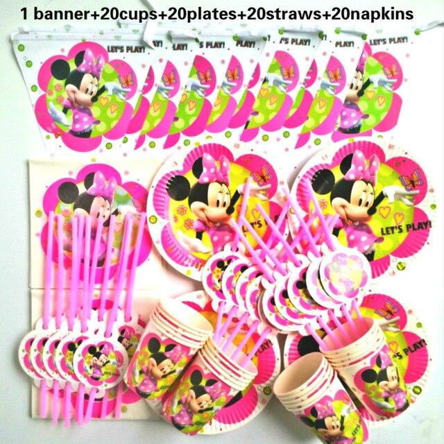 81 piezas 20 personas Feliz cumpleaños niños Minnie mouse baby shower fiesta decoración conjunto banner mantel pajitas tazas platos proveedor