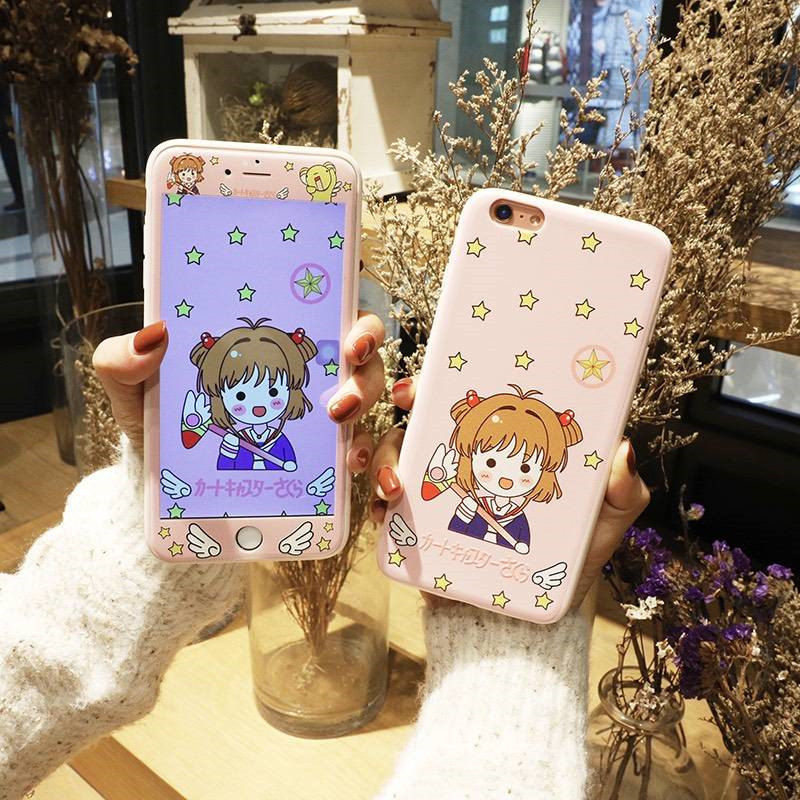 Relief Front Screen Protector + Light Pink Magical Girl Pattern Cover Sailor Moon TPU Phone Case For iPhone X 6 6s Plus 7 8 Plus
