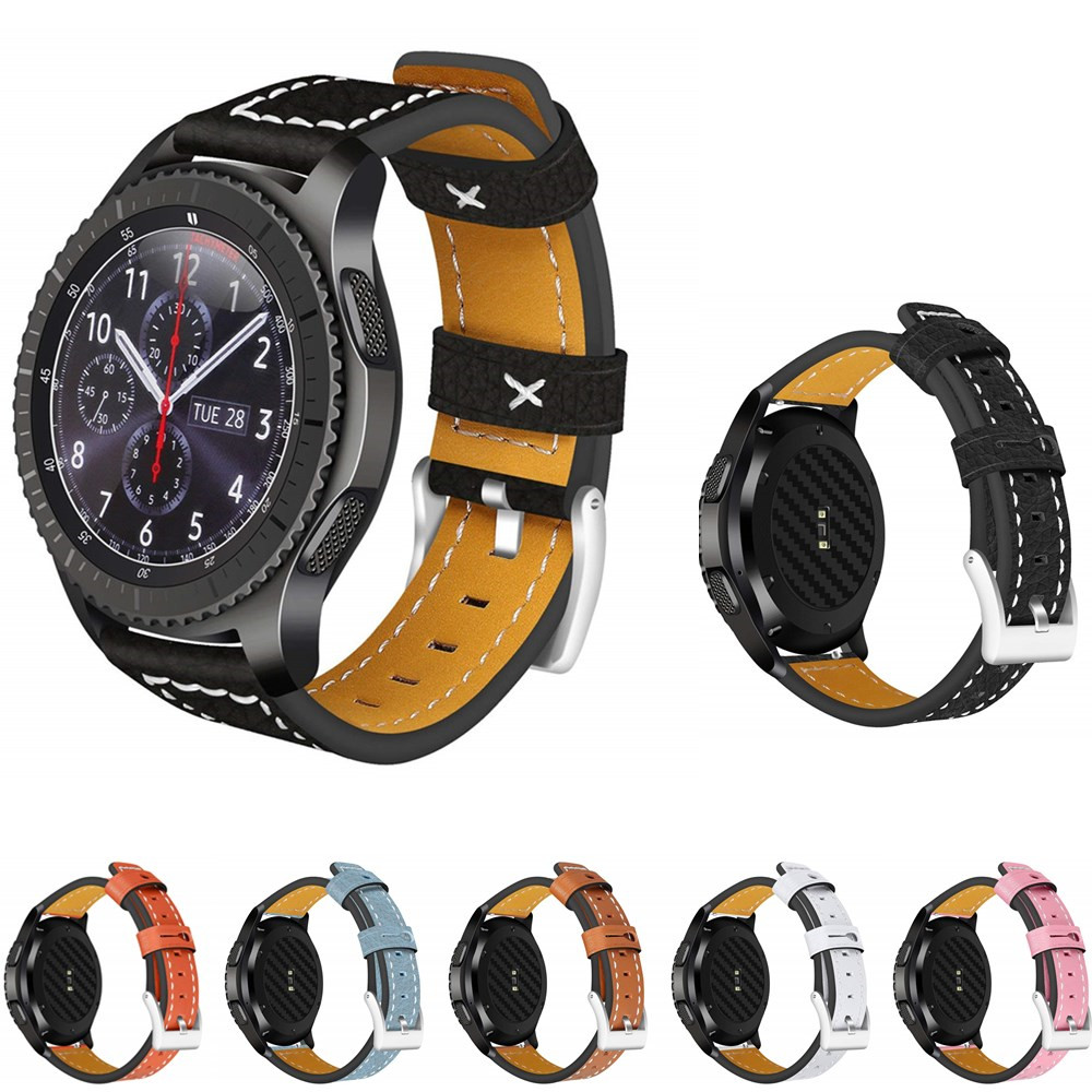 leather strap for samsung gear S3 S 3 frontier/classic band 22mm wrist bracelet watchband retro belt replacement accessories silicone sport watchband for gear s3 classic frontier 22mm strap for samsung galaxy watch 46mm band replacement strap bracelet