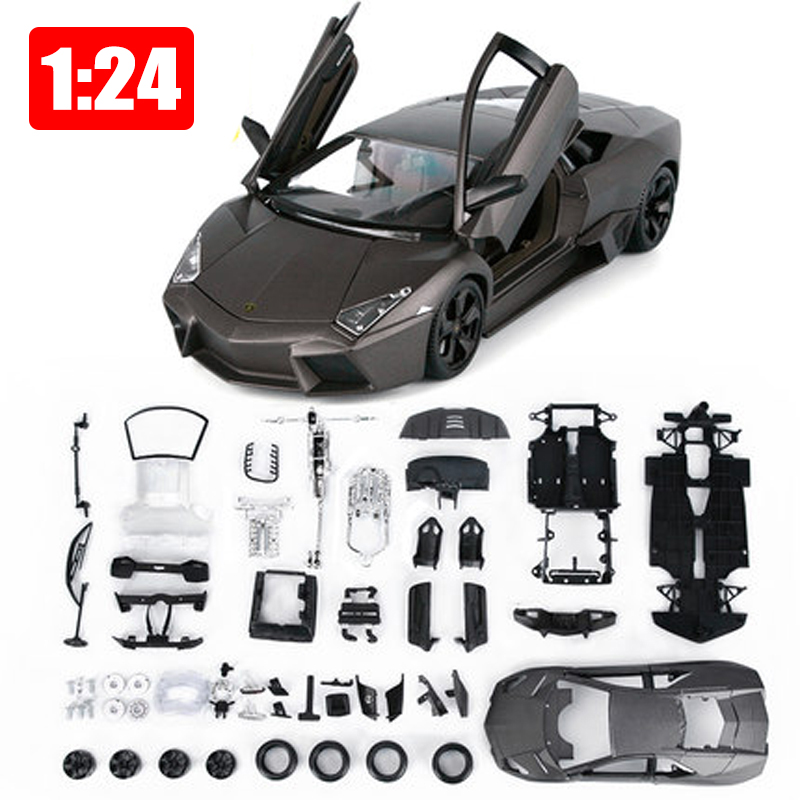 DIY Assembly Cars Reventon Alloy Car Simulation Model 1 24 Bat Sports Car Collection Model Color