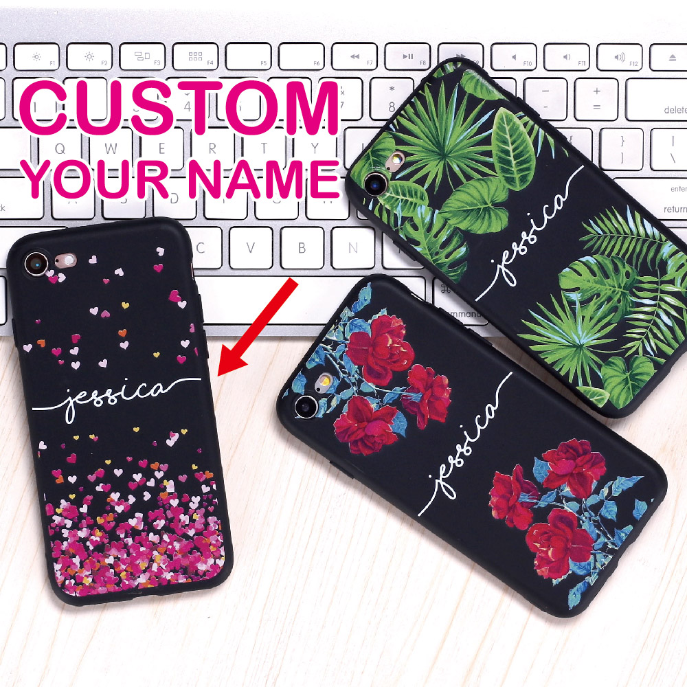 Custom Personalized Name Text Floral Soft Black Phone Case For SAMSUNG Galaxy S7 S8 S9 iPhone 6