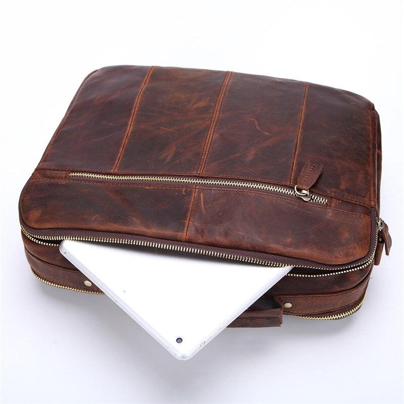 Nesitu, винтажные, шоколадные, первый слой, натуральная кожа, мужские сумки через плечо, сумки через плечо, мужской портфель, портфель # M207 - 5