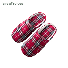 Spring Autumn Home Cotton Women Slippers Soft Plaid Casual Bedroom Flip Flops  Indoor Outdoor Sandals Fashion Woman Shoes