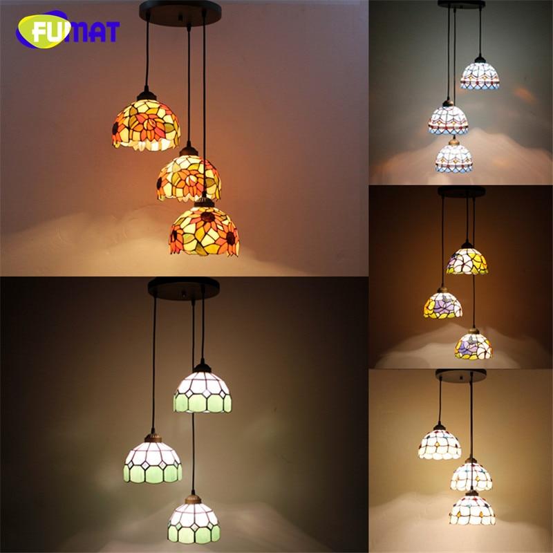FUMAT Tiffany Spiral Lights American Brief Pendant Lamp Glass Suspension Lights Flower Baroque Restaurant Hotel Project Lights