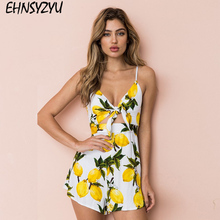 3e2bb72a5a Women 2018 Summer Casual Lemon Printed Sexy Backless Beach Rompers Short  Overalls Lady Bow Chest Wrapped