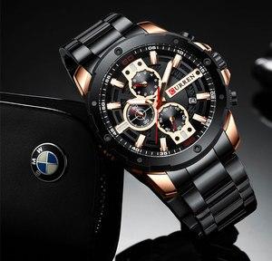 Image 3 - Relogio masculino 남자 시계 curren 탑 럭셔리 브랜드 시계 남자 쿼츠 스테인레스 스틸 시계 패션 크로노 그래프 시계 남자