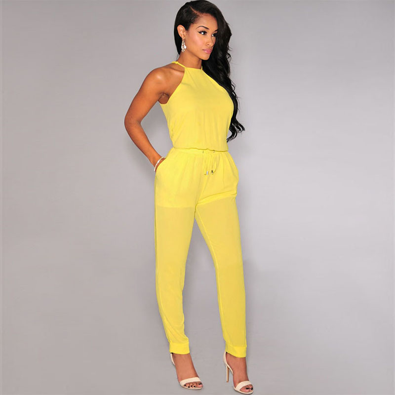 3df8a141ab6 Fashion Casual Women Black yellow Long Jumpsuits Sexy SleeveLess Loose  Playsuits Womens Rompers Overalls Pencil Bodysuit-in Jumpsuits from Women s  Clothing ...