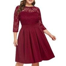 JAYCOSIN, повседневное женское платье, 5XL, большой размер, платье,, осенние платья для женщин, плюс размер, одноцветное, кружевное, вечерние, на выпускной, Vestido