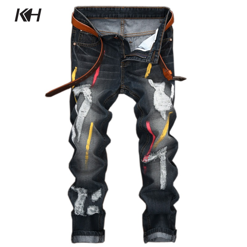KH Fashion Men's Straight Skinny Jeans Paint Printing Personality Nostalgia Denim Pants Mens Ripped Holes Biker Slim Trousers